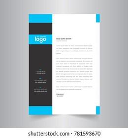modern simple letterhead design with blue color