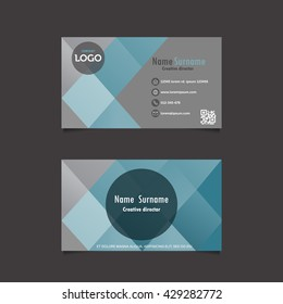 Modern simple light blue and white business card with flat user interface. template, vector illustration
