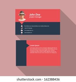 Modern simple light business card template - Flat Design - Vector Illustration
