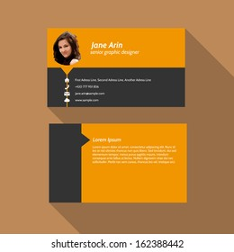 Modern simple light business card template - Flat Design - Vector Illustration