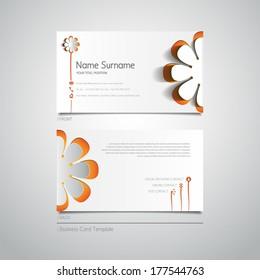 Modern simple light business card template with papercut flower
