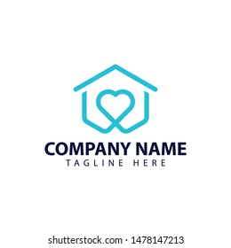 Modern and simple logo design for home and love