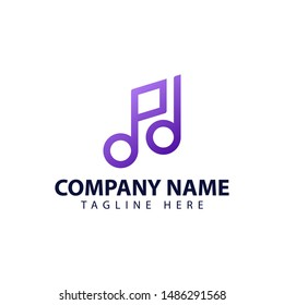 Modern and simple logo design for letter P and music note in abstract style