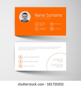 Modern simple orange business card template with flat user interface
