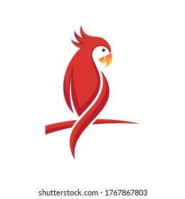 Modern and simple parrot bird with red color logo illustration