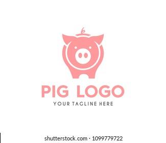 Modern Simple Pig Logo Animal Vector Symbol