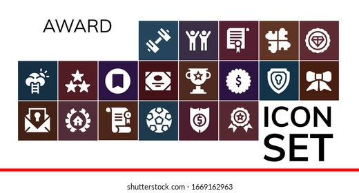 Modern Simple Set of award Vector filled Icons. Contains such as Sport, Success, Certificate, Awards, Soccer, Shield, Winner, Star and more Fully Editable and Pixel Perfect icons.