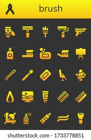 Modern Simple Set of brush Vector filled Icons. Contains such as Nail clippers, Pliers, Paint roller, Painting brush, Roller, Gun and more Fully Editable and Pixel Perfect icons.