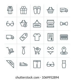 Modern Simple Set of clothes, shopping Vector outline Icons. 