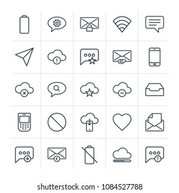 Modern Simple Set of cloud and networking, chat and messenger, mobile, email Vector outline Icons. Contains such Icons as  add,  no,  mobile and more on white background. Fully Editable. Pixel Perfect