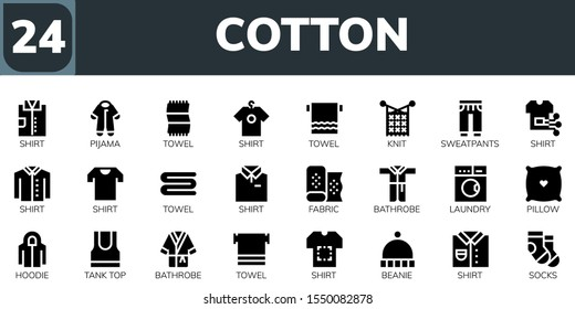 Modern Simple Set of cotton Vector filled Icons. Contains such as Shirt, Pijama, Towel, Knit, Sweatpants, Fabric, Bathrobe, Laundry and more Fully Editable and Pixel Perfect icons.