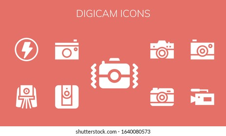 Modern Simple Set of digicam Vector filled Icons. Contains such as Camera, Flash and more Fully Editable and Pixel Perfect icons.