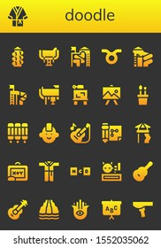 Modern Simple Set of doodle Vector filled Icons. Contains such as Slide, Bathrobe, Saddle, Taurus, Drawing, Pencil case, Room divider and more Fully Editable and Pixel Perfect icons.