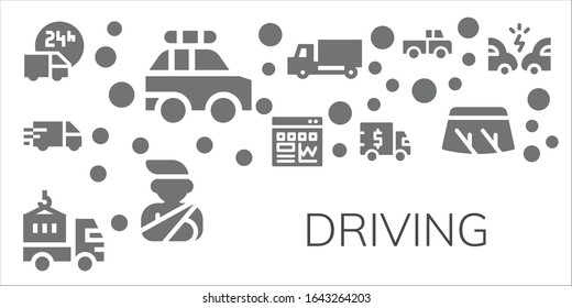 Modern Simple Set of driving Vector filled Icons. Contains such as Delivery truck, Police car, Traffic, Truck, Accident, Windshield and more Fully Editable and Pixel Perfect icons.