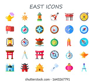 Modern Simple Set of east Vector flat Icons. Contains such as genie, north, lantern, Compass, torii gate, compass, china, cardinal points and more Fully Editable and Pixel Perfect icons.