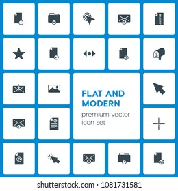 Modern Simple Set of folder, cursors, files, email Vector fill Icons. Contains such Icons as  art,  work, private,  scroll,  remove,  click and more on dark background. Fully Editable. Pixel Perfect