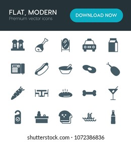 Modern Simple Set Of Food, Hotel, Drinks Vector Fill Icons. Contains Such  Icons