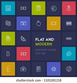 Modern Simple Set of food, money, shopping Vector outline Icons. Contains such Icons as kitchen,  pink, bitcoin,  sign, food,  investment and more on dark background. Fully Editable. Pixel Perfect