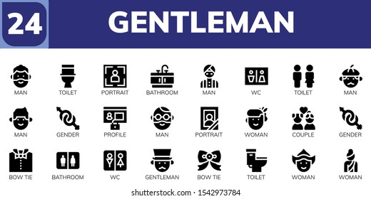 Modern Simple Set of gentleman Vector filled Icons. Contains such as Man, Toilet, Portrait, Bathroom, Wc, Gender, Profile, Woman and more Fully Editable and Pixel Perfect icons.