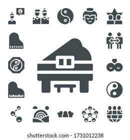 Modern Simple Set of harmony Vector filled Icons. Contains such as Friend, Piano, Yin yang, Cooperation, Friends, Rainbow, Buddha and more Fully Editable and Pixel Perfect icons.