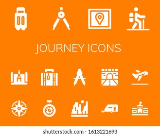 Modern Simple Set of journey Vector filled Icons. Contains such as Suitcase, Compass, Gps, Hiking, Windrose, Luggage, Canyon, Caravan and more Fully Editable and Pixel Perfect icons.