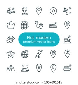 Modern Simple Set of location, travel Vector outline Icons. 