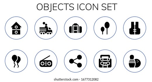Modern Simple Set of objects Vector filled Icons. Contains such as House, Balloon, Train, Radio, Bag, Share, Balloons, Lifejacket and more Fully Editable and Pixel Perfect icons.