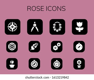 Modern Simple Set of rose Vector filled Icons. Contains such as Windrose, Wind rose, Rose, Compass, Flower, Flowers and more Fully Editable and Pixel Perfect icons.