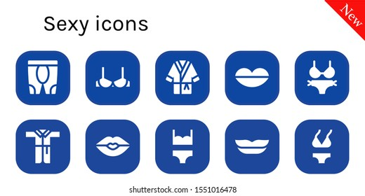 Modern Simple Set of sexy Vector filled Icons. Contains such as Leggings, Brassiere, Bathrobe, Lips, Bikini, Kiss and more Fully Editable and Pixel Perfect icons.