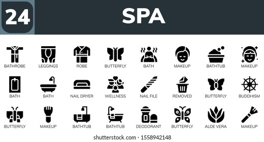 Modern Simple Set of spa Vector filled Icons. Contains such as Bathrobe, Leggings, Robe, Butterfly, Bath, Makeup, Bathtub, Nail dryer and more Fully Editable and Pixel Perfect icons.