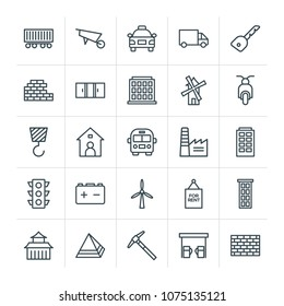Modern Simple Set of transports, industry, buildings Vector outline Icons. Contains such Icons as  house,  petrol, freight,  yellow,  old and more on white background. Fully Editable. Pixel Perfect