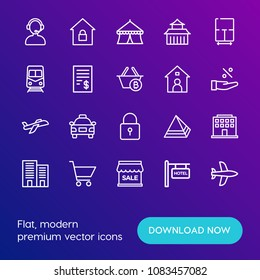 Modern Simple Set of transports, shopping, buildings Vector outline Icons. Contains such Icons as  architecture,  entertainment,  sale and more on gradient background. Fully Editable. Pixel Perfect.