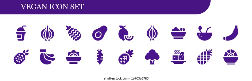 Modern Simple Set of vegan Vector filled Icons. Contains such as Smoothie, Onion, Pineapple, Avocado, Lemons, Salad, Coconut, Banana and more Fully Editable and Pixel Perfect icons.