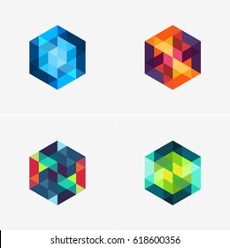 Modern simple shape, colorful, abstract vector logo or element design set. Best for identity and logotypes.