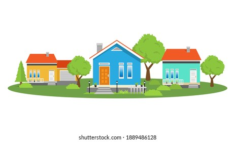 Modern simple suburban house exterior set in flat style design, set of colorful house exterior with trees decoration, vector illustration isolated on white.