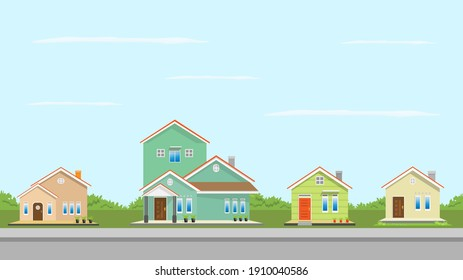 Modern simple suburban house exterior set in flat style design, set of colorful house exterior with trees decoration, vector illustration.