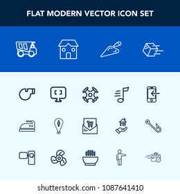Modern, simple vector icon set with domestic, transportation, computer, melody, drone, clothes, phone, dump, control, sport, ironing, tipper, laptop, shipping, delivery, vehicle, music, list, pc icons