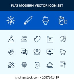 Modern, simple vector icon set with mountain, accounting, handle, page, money, wing, extreme, emergency, skateboard, danger, wc, financial, skate, insect, butterfly, skater, communication, web icons