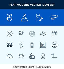 Modern, simple vector icon set with surgeon, meeting, sky, business, sign, mountain, medical, food, people, room, close, nature, white, war, doctor, presentation, old, key, weapon, forbidden icons