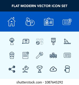 Modern, simple vector icon set with document, sky, cardboard, equipment, estate, brush, balance, drink, air, building, repair, credit, package, contract, travel, replacement, water, card, female icons