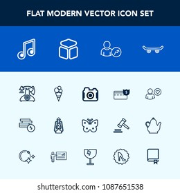 Modern, simple vector icon set with musical, metal, wing, cream, extreme, old, account, food, encyclopedia, skateboard, profile, photographer, skater, note, skate, phone, cube, camera, kerosene icons