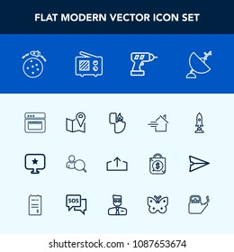 Modern, simple vector icon set with signal, antenna, kitchen, download, food, lighter, location, object, drill, estate, wireless, online, road, dish, kettle, work, spaceship, computer, machine icons