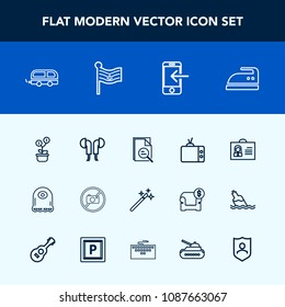 Modern, simple vector icon set with sign, phone, sound, technology, ironing, audio, zoom, internet, monster, tv, transfer, flag, transport, investment, growth, money, wizard, magic, forbidden icons