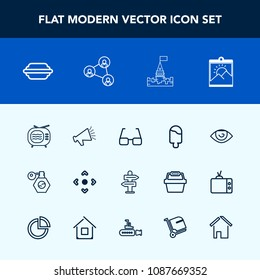 Modern, simple vector icon set with loudspeaker, television, technology, medieval, tv, food, burger, frame, dessert, lettuce, beauty, ice, communication, cream, white, bun, pump, business, way icons
