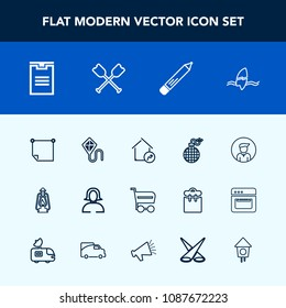 Modern, simple vector icon set with stick, tropical, kerosene, lamp, vintage, male, sky, surfing, face, real, paper, kite, note, market, package, trolley, ocean, property, shop, lantern, box icons