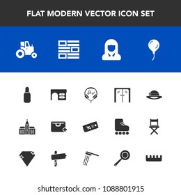 Modern, simple vector icon set with door, agricultural, handle, office, music, travel, sport, hat, sign, agriculture, glass, religion, desk, religious, airplane, audio, table, face, work, bag icons