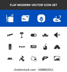 Modern, simple vector icon set with gun, speed, image, document, background, file, mute, celebration, picture, transport, handgun, work, clothes, radio, pistol, happy, microphone, road, clothing icons