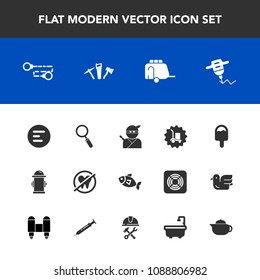 Modern, simple vector icon set with van, safety, drink, vehicle, train, app, hydrant, chain, japan, delivery, cargo, department, button, repair, drill, menu, dental, healthy, glass, samurai, tea icons