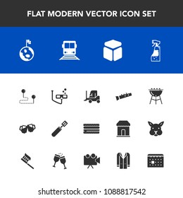 Modern, simple vector icon set with transportation, cooking, car, space, pub, beer, sound, train, pan, position, nature, map, alcohol, spray, sport, barbecue, destination, transport, snack, cube icons