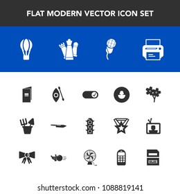 Modern, simple vector icon set with brochure, water, business, knife, activity, lamp, technology, river, audio, karaoke, sound, transport, music, blossom, air, equipment, kayaking, cherry, , mic icons